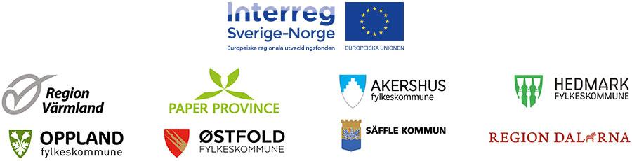 Interreg Sverige-Norge, Region Värmland, Paper Province, Akershus fylkeskommune, Hedmark fylkeskommune, Oppland fylkeskommune, Østfold fylkeskommune, Säffle kommun, Region Dalarna
